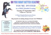 YOU'RE INVITED to a FREE Health Information Evening