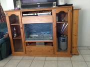 SOLID PINE ENTERTAINMENT UNIT WITH AQUARIUM